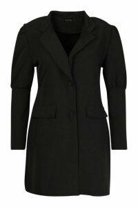 Womens Plus Puff Sleeve Blazer Dress - black - 20, Black