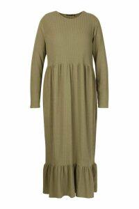 Womens Plus Soft Rib Ruffle Tiered Midi Dress - green - 22, Green