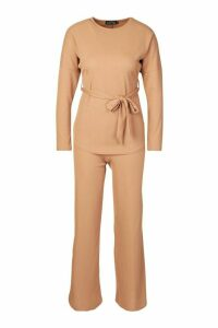 Womens Petite Ribbed Belted T-Shirt & Wide Leg Co-Ord - beige - 6, Beige