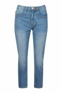 Womens Petite Mid Wash Boyfriend Jeans - blue - 4, Blue