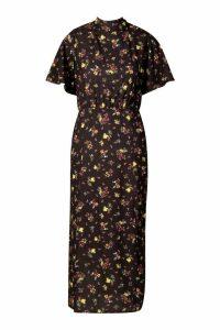 Womens Tall Floral Angel Sleeve Midi Dress - Black - 18, Black