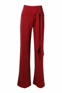 Womens Tall Glitter Belted Wide Leg Trousers - Red - 18, Red