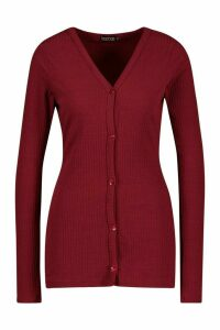 Womens Tall Soft Rib Fitted Cardigan - red - 12, Red