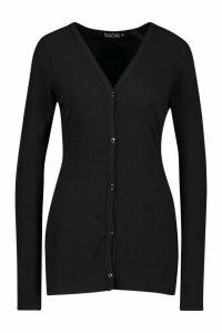 Womens Tall Soft Rib Fitted Cardigan - black - 16, Black