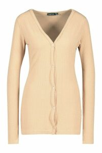 Womens Tall Soft Rib Fitted Cardigan - beige - 10, Beige