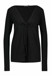 Womens Tall Soft Rib Tie Front Cardigan - black - 12, Black
