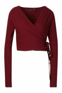 Womens Tall Soft Rib Wrap Cardigan - red - 18, Red