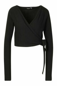 Womens Tall Soft Rib Wrap Cardigan - black - 6, Black