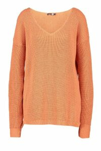 Womens Tall V-Neck Jumper - orange - S/M, Orange