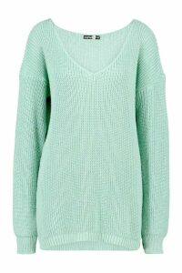 Womens Tall V-Neck Jumper - Green - S/M, Green