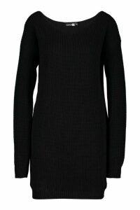 Womens Tall V-Neck Jumper Dress - black - M/L, Black