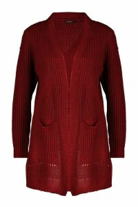 Womens Tall Chunky Cardigan With Pockets - red - XS, Red