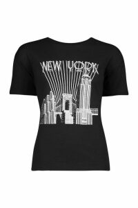 Womens Tall New York Skyline T-Shirt - black - M, Black