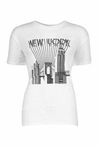 Womens Tall New York Skyline T-Shirt - white - M, White