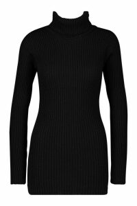 Womens Tall Roll Neck Jumper - black - S/M, Black