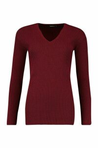 Womens Tall V Neck Rib Knit Jumper - red - M/L, Red