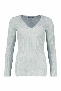 Womens Tall V Neck Rib Knit Jumper - grey - M/L, Grey