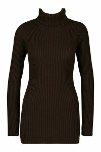 Womens Tall Roll Neck Jumper - brown - M/L, Brown