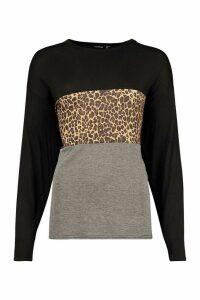 Womens Tall Leopard Print Contrast T-Shirt - black - 16, Black
