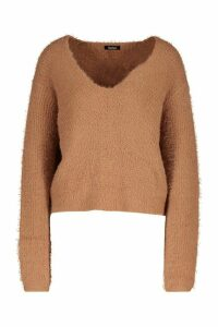 Womens Soft Touch V Neck Jumper - Beige - L, Beige