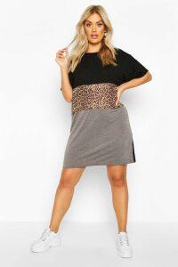 Womens Plus Leopard Contrast Panel T-Shirt Dress - Black - 20, Black