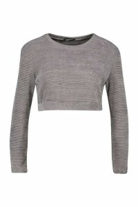 Womens Petite Chenille 2 In 1 Layered Shirt Jumper - grey - L, Grey