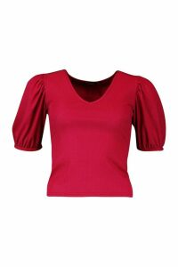 Womens Petite Ribbed V-Neck Puff Sleeve T-Shirt - red - 12, Red