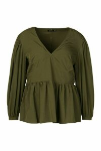 Womens Plus Woven Oversized Sleeve Peplum Blouse - green - 22, Green