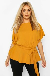 Womens Plus Slash Neck Tie Waist Peplum Hem Top - yellow - 20, Yellow