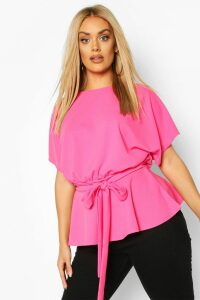 Womens Plus Slash Neck Tie Waist Peplum Hem Top - Pink - 28, Pink