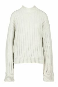 Womens Tall Wide Rib Turn Up Cuff Jumper - grey - S, Grey