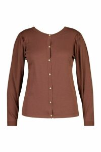 Womens Plus Knitted Puff Sleeve Button Cardigan - brown - 16, Brown