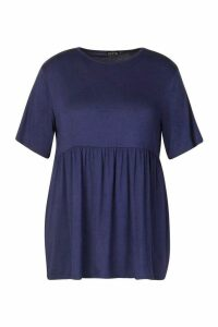 Womens Plus Jersey Frill Hem Smock Top - navy - 22, Navy