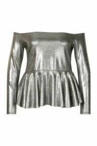 Womens Plus Metallic Off The Shoulder Peplum Top - black - 24, Black