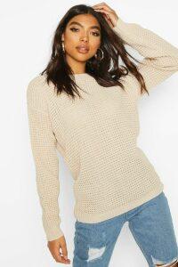 Womens Tall Waffle Knit Jumper - beige - S, Beige