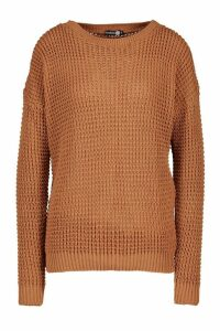 Womens Tall Crew Neck Crop Jumper - orange - S, Orange