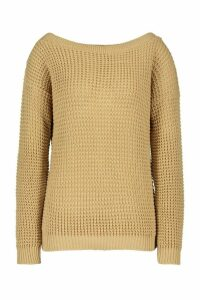 Womens Tall Slash Neck Jumper - beige - M, Beige