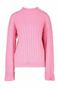 Womens Tall Wide Rib Turn Up Cuff Jumper - Pink - S, Pink