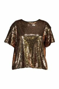 Womens Plus Sequin Split Back T-Shirt - metallics - 18, Metallics
