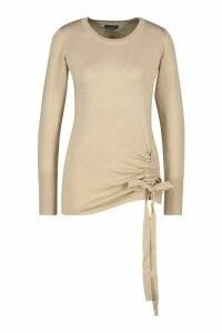 Womens Petite Ruched Detail Crew Neck Jumper - Beige - S, Beige