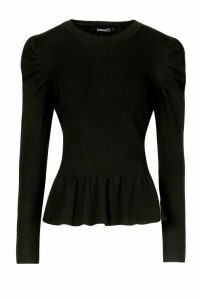 Womens Petite Extreme Volume Sleeve Peplum Jumper - black - M, Black