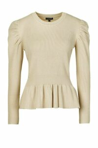 Womens Petite Extreme Volume Sleeve Peplum Jumper - cream - L, Cream