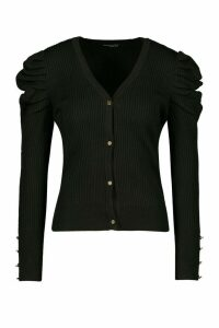 Womens Petite Volume Sleeve Gold Button Cardigan - black - M, Black