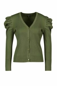Womens Petite Volume Sleeve Gold Button Cardigan - green - M, Green