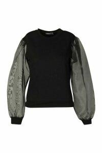 Womens Petite Organza Sleeve Sweat Top - black - 6, Black