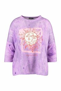 Womens Plus Recycled Lunar Solar Graphic T-Shirt - purple - 20, Purple