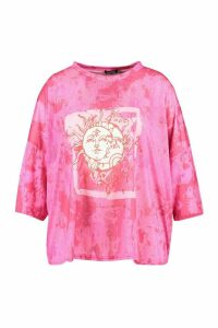 Womens Plus Recycled Lunar Solar Graphic T-Shirt - Pink - 20, Pink