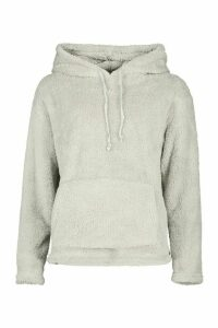 Womens Teddy Oversized Hoody - blue - L, Blue