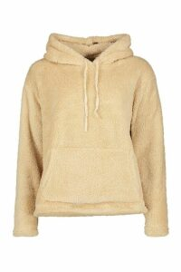 Womens Teddy Oversized Hoody - white - M, White