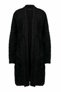 Womens Petite Premium Fluffy Knit Maxi Cardigan - black - M/L, Black